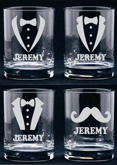 Personalized Groomsmen Glass. Makes an affordable and thoughtful gift for members of your wedding party. Available in 4 designs and 3 glass types to choose from. View the second picture and choose the