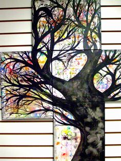 Unique Love Tree Painting On Canvas -  Acrylic Rainbow Tree Of Life and Love - Large Handmade Abstract Tree Silhouette Wall Art. $60.00, via Etsy.