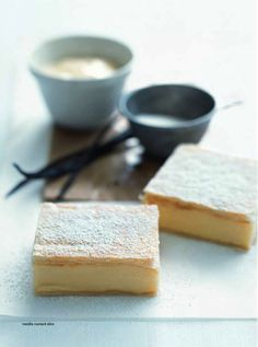 Vanilla custard slice Donna Hay Magazine : Issue 51 - demo, Page 162 Just Desserts, Delicious Desserts, Yummy Food, Baking Recipes, Cake Recipes, Dessert Recipes, Vanilla Custard, Custard Slice, Custard Pies