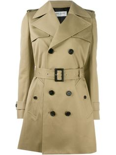 SAINT LAURENT Belted Trench Coat. #saintlaurent #cloth #coat