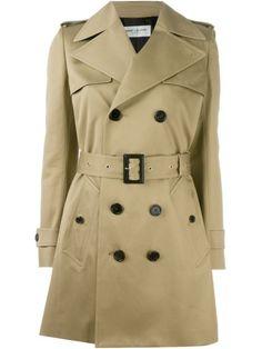 SAINT LAURENT Belted Trench Coat. #saintlaurent #cloth #coat