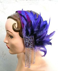 Stunning Deep Purple Deco Flapper Head Band with Beautiful Beadwork and Mixed Coque Feathers