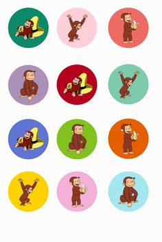 Free Curious George BottleCap Circles Printable Digital Collage Sheet from Etsy Store FantasyGraphicImages Bottle Cap Jewelry, Bottle Cap Art, Bottle Cap Crafts, Bottle Cap Images, Curious George Party, Curious George Birthday, Second Birthday Ideas, 3rd Birthday Parties, Monkey Birthday