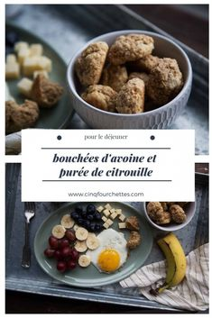 Bouchées à l'avoine pour le petit-déjeuner - Cinq Fourchettes Biscuits, Galette, Cereal, Muffins, Breakfast, Desserts, Cupcakes, Forks, Snacks