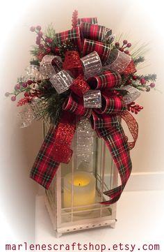 Christmas Lantern Swag,Christmas Tree topper bow, Christmas Lantern Bow,Christmas tree bow,Christmas lantern topper bow, black, Red, Silver by MarlenesCraftShop on Etsy