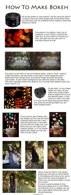 How to create a Bokeh effect by ~KatherineDavis on deviantART.currently OBSESSED with bokeh Photography Cheat Sheets, Bokeh Photography, Photography Lessons, Photoshop Photography, Photography Projects, Photography Tutorials, Digital Photography, Levitation Photography, Exposure Photography