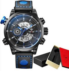 WEIDE Men's Sports Watch Quartz Back Light Wristwatch Military Fashion Casual Dive Watches for Men Mens Sport Watches, Mens Watches Leather, Leather Men, Watches For Men, Men's Watches, Fashion Watches, Waterproof Watch, Casual Watches, Digital Watch