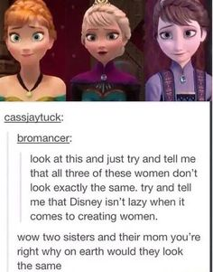 Lol I never knew people thought that Disney is lazy with their female characters. Look at arial Look at Pocahontas and tell me that. Disney Pixar, Disney Jokes, Funny Disney Memes, Disney And Dreamworks, Disney Magic, Funny Memes, Disney Characters, Punk Disney, Memes Humor