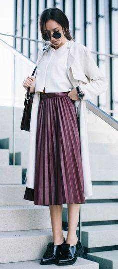 Beatrice Gutu + metallic pleated skirt trend + patent leather brogues + white blouse and mack + spring style  Coat: H&M, Crop Top/Shoes: Zara, Skirt: Chicwish.