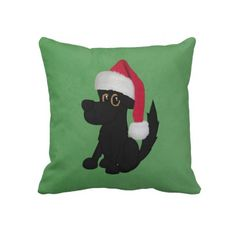 Christmas Big Dog Green Square Throw Pillow