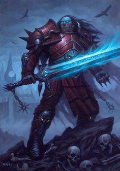 Card Name: Spectral Knight Artist: Chris Rahn Art Warcraft, World Of Warcraft, Fantasy Sword, Fantasy Rpg, Dark Fantasy Art, Fantasy Character Design, Character Art, Character Portraits, Chris Rahn