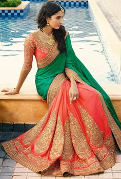 Green And Orange Embroidered Designer Party Wear Saree Saree Designs Party Wear, Party Wear Sarees, Dress Indian Style, Indian Dresses, Indian Beauty Saree, Indian Sarees, Pakistani Outfits, Indian Outfits, Cheongsam
