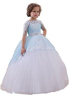 9a67d2c82c Amazon.com  EnjoyDress Kid Short Sleeve Pageant Prom Dress Appliques Flower  Girl Dresses (2)  Clothing. Tulle BallsTulle ...