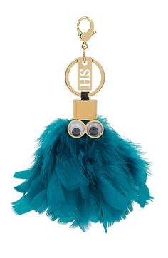 Unique Faux Fur Fluffy Googly Eyes Ghost Pac Man Bag Charm Coin Purse Key Ring