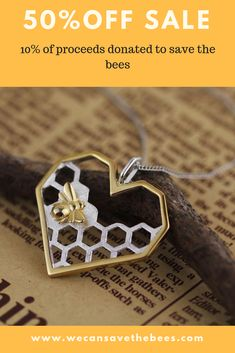 Necklaces Simple Honey Comb Heart Necklace OFF of proceeds go to honey bee charities - Jewelry Crafts, Jewelry Box, Jewelery, Jewelry Accessories, Jewelry Making, Unique Jewelry, Hanging Jewelry, Jewelry Findings, Silver Jewelry