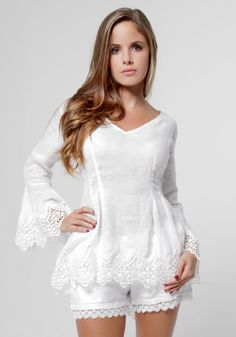 Linen Long Bell Sleeve Top With Lace Detail Tank Top Outfits, Short Summer Dresses, Weekend Style, White Outfits, Lace Tops, Ladies Dress Design, Casual Tops, Blouse Designs, Lace Detail