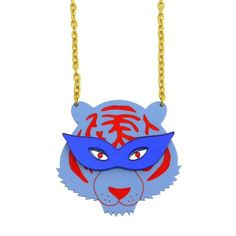 Party Tiger Statement Necklace ❤ liked on Polyvore featuring jewelry, necklaces, mirror necklace, blue jewellery, laser-cut jewelry, statement necklace and laser cut jewellery