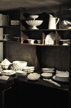 I would love to have every piece:)...The most divine shop,like stepping back in time,full of beautifully imperfect white glazed pottery,from a black clay.Based on 18th and 19th century shapes,they seem to have escaped from a simpler more fragile world,it seems to me.The downside is the eye popping price tag.I have started saving......  Astier de Villatte 173,rue St Honore.Paris