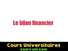Le bilan financier | Cours Universitaires