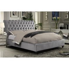 Victoria Grey Upholstered Bed Costco
