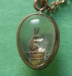 Antique GF Reverse Painted Egg Shaped Crystal Charm w Easter Rabbit Long Chain… Victorian Jewelry, Antique Jewelry, Vintage Jewelry, Vintage Charm Bracelet, Charm Bracelets, Unusual Jewelry, Egg Shape, Vintage Easter, Animal Jewelry
