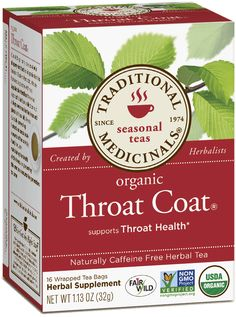 Traditional Medicinals Organic Throat Coat Herbal Tea - Caffeine Free - 16 Bags -- Learn more by visiting the image link. Foeniculum Vulgare, Organic Herbal Tea, Herbal Teas, Autumn Tea, Slippery Elm, Singing Tips, Singing Lessons, Best Tea, Healthy Eating Tips