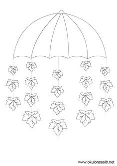 Umbrella crafts for preschool Winter Crafts For Kids, Autumn Crafts, Autumn Art, Art For Kids, Autumn Leaves, Under My Umbrella, School Decorations, Colouring Pages, Classroom Decor
