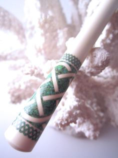 "Timberstone Turnings The""Princess Eve"" Celtic Knot Hair Stick Featuring Holly Inlaid with Green Turquoise Timberstone Turnings"