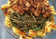 Grilled Tempeh, Green Beans, and Pineapple