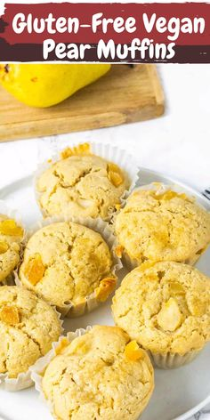 These vegan, gluten-free pear muffins with ginger are moist and delicious with juicy chunks of pear, fresh ginger and crystallized ginger. They are perfect for breakfast, dessert or snack.