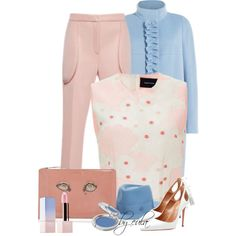 Rose Quartz & Serenity (Outfit Only) by eula-eldridge-tolliver on Polyvore featuring мода, Paule Ka, Simone Rocha, Maison Michel, Sephora Collection, T. LeClerc, Rochas, Aquazzura, women's clothing and women's fashion