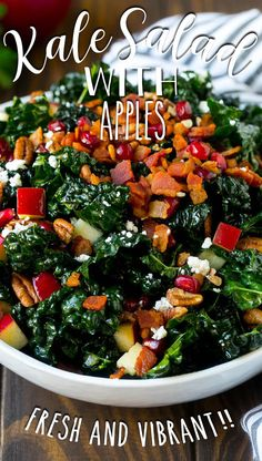 This kale salad is loaded with apples, bacon, pomegranate, feta cheese and pecans, all tossed together in a homemade dressing. Great Salad Recipes, Chopped Salad Recipes, Supper Recipes, Healthy Low Calorie Meals, Healthy Salads, Healthy Recipes, Healthy Foods, Kale Salad, Vegetable Salad