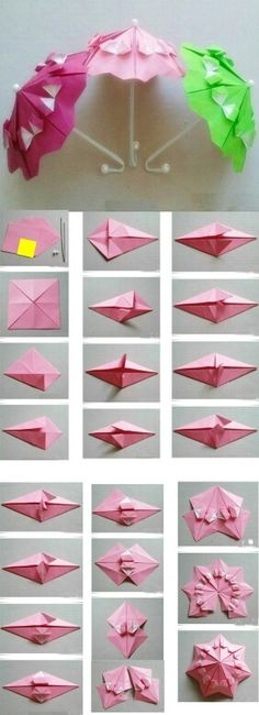 The method to DIY origami umbrella.Collect this if you li ke ! Origami umbrella for Sylvanian Families? You can make a butterfly form of origami. An origami butterfly can be hanged on your bedroom wall making it looks beautiful. You will require origami p Diy Origami, Origami And Kirigami, Origami Paper Art, Origami Butterfly, Origami Tutorial, Diy Paper, Paper Crafting, Oragami, Origami Folding