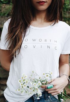 "LOVE this T-Shirt and message from @soworthloving. ""No matter my history, past mistakes, relationship status, or career choice, I am worthy of love. I am not defined by my past.  When I encourage others to love themselves I am encouraging them to treat themselves with kindness, patience, respect, and all that embodies love."""