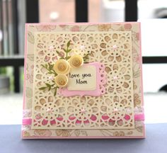 Mothers Day Card White Rose  5 1/2 x 51/2 by CardamomsArt on Etsy, $6.20