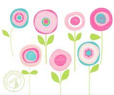 Summer Flowers Clip Art | Flower Clip Art Summer Blooms, Modern Flower Clip Art JellyBean Blooms