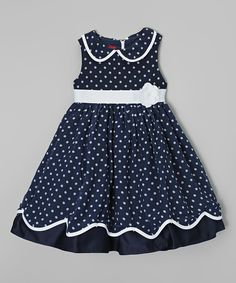 Look at this Navy & White Dot Peter Pan Collar Dress - Girls on today! Add hat & white gloves, maybe a purse Baby Girl Party Dresses, Baby Dress, Girls Dresses, Elegant Dresses, Pretty Dresses, Baby Girl Fashion, Kids Fashion, Pageant Casual Wear, Kids Dress Patterns