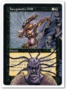 "Yawgmoth's Will altered art mtg card, hand painted.by ""bdx games france"" http://www.squidoo.com/magic-the-gathering-altered-art-cards #mtg #magic #magicthegathering #painting #alteredart"