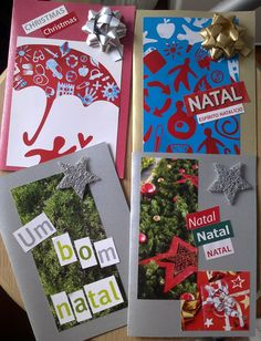 Postais de Natal feitos com materiais reciclados  Xmas cards made with recycled materials