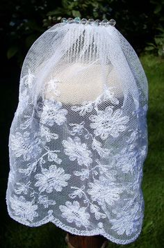 bridal veil made from vintage lace and crystals. Sterling comb.