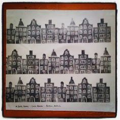Yes, these are Dutch Houses, but not the ones you know! These are stamped, not screenprinted. I made this fat quarter for the third handpr. Dutch House, Screen Printing, Third, Photo Wall, Quilts, Frame, Fabric, Handmade, Decor