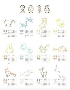 by futska  geometric origami 12 month wall desk calendar