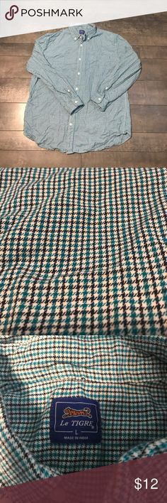 Le Tigre houndstooth long sleeve button down large Le Tigre houndstooth long sleeve button down large le tigre Shirts Casual Button Down Shirts