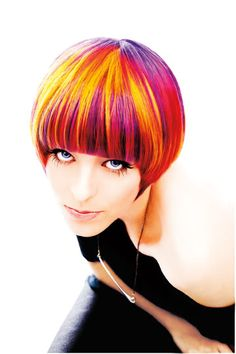 unique awesome amazing COLORS this colorful short bang hairstyle #purple #red #yellow #pink multi colored hairstyle hair hairdo