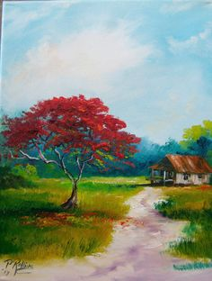OLD HOUSE RED TREE POINCIANA  11x14  ORIGINAL PAT ROLLINS FLORIDA  ARTIST #Outsider