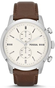 #Fossil Townsman Chronograph Leather #Watch - Brown FS4865