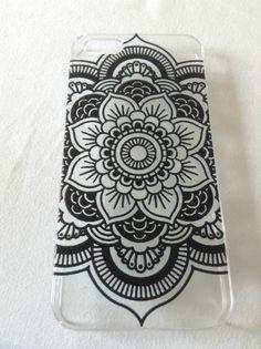 iPhone 5 Cover, Hülle, Schale, Blumen, Henna, Handy, Telefon