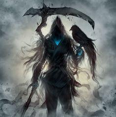 New Dark Art Drawings Demons Death Grim Reaper Ideas Dark Fantasy Art, Fantasy Artwork, Demon Art, Fantasy Creatures, Mythical Creatures, Fantasy Character Design, Character Art, Ninja Kunst, Art Ninja
