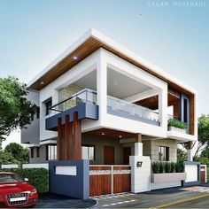 The interesting Modern Residential House Bungalow Exterior Arsagar Inside The Most Brilliant Bungalow Exterior Design image below, is section of … Modern Bungalow Exterior, Modern Exterior House Designs, Modern House Plans, Modern House Design, Exterior Design, Exterior Colors, Bungalow House Design, House Front Design, Modern Residential Architecture