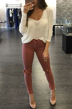 Cute and Casual Spring Outfits Summer Outfits For Teens, Fall Winter Outfits, Autumn Winter Fashion, Spring Fashion, Spring Outfits, Cute Fashion, Fashion Outfits, Women's Fashion, Stylish Outfits